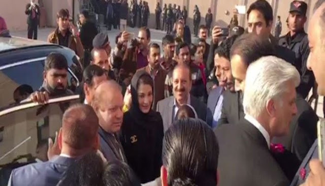 Nawaz Sharif and daughter Maryam arriving at the court today.