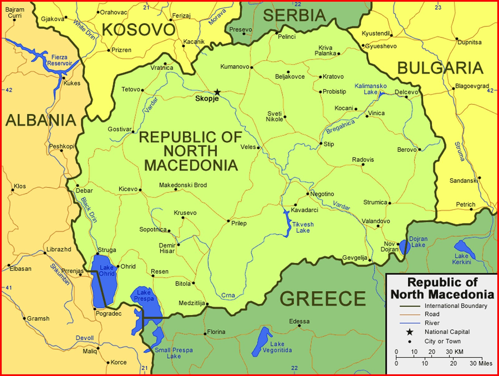 image: Republic of North Macedonia Map High Resolution