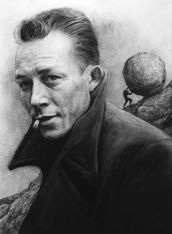 08-Albert-Camus-Liu-Ling-Faces-of-Writers-in-Charcoal-Drawings-www-designstack-co