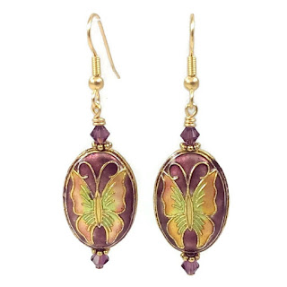Butterfly earrings in pink and purple