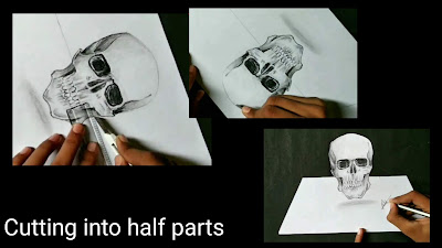 How to draw Drawing of skull , 3d Drawing of skull, step by step tutorial for to draw skull, learn to draw skull