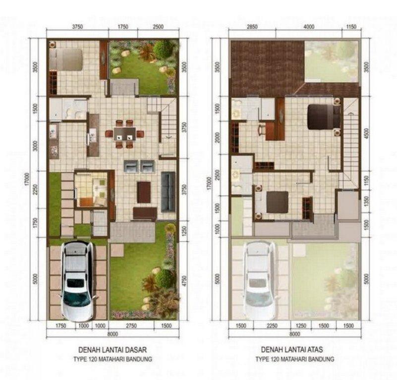 denah rumah ukuran 9x9 m 1 2 lantai 3