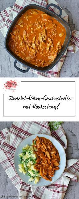 Zwiebel-Rahm-Geschnetzeltes mit Raukestampf | Rezept | Kochen | Essen | Weight Watchers