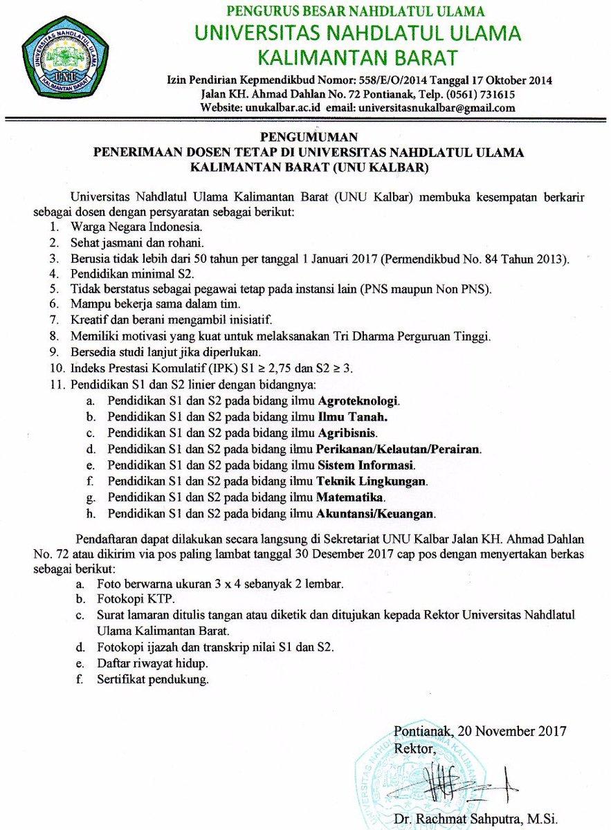 Lowongan Kerja Dosen Tetap Universitas Nahdlatul Ulama Kalimantan Barat (UNU Kalbar)