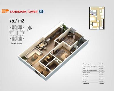 Mặt bằng căn hộ B 75,7m2 - HP Landmark - Hải Phát