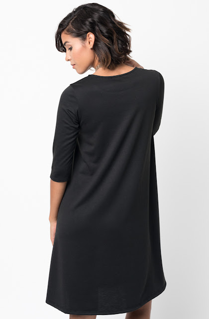 Black Pocket Terry A Line Dress Swing Long Sleeve Crew Neck