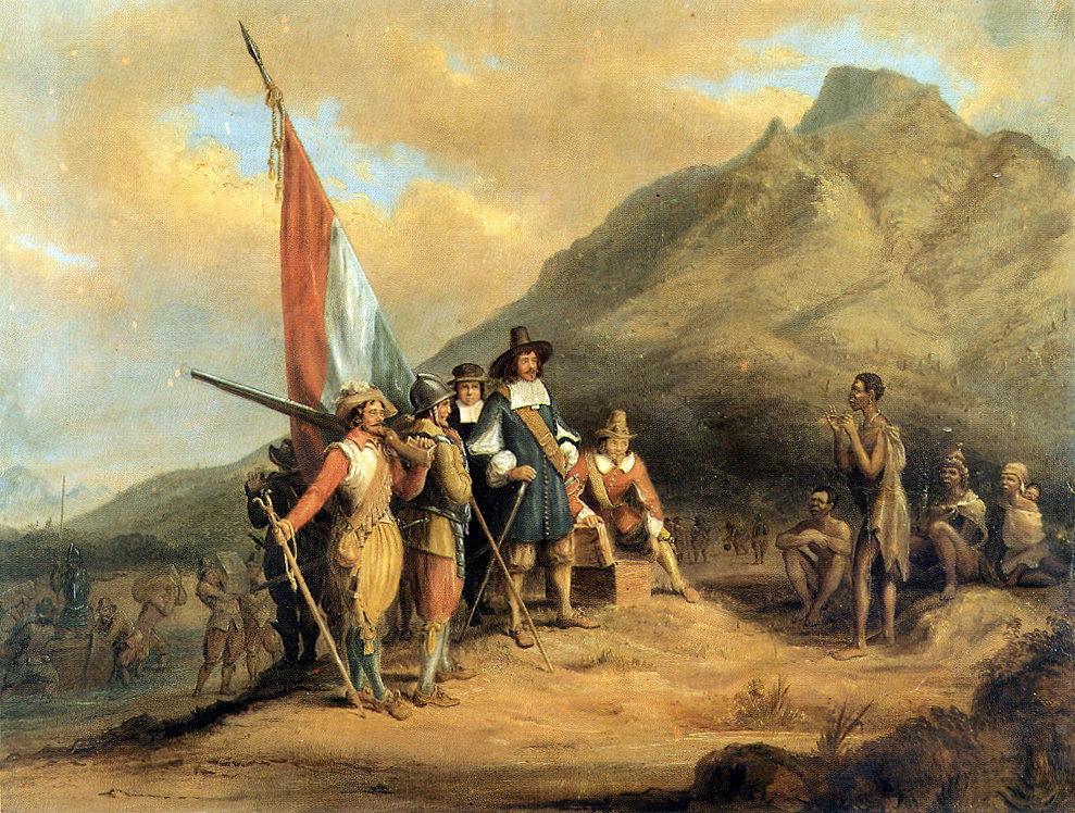 arrival of Jan van Riebeeck in Table Bay,