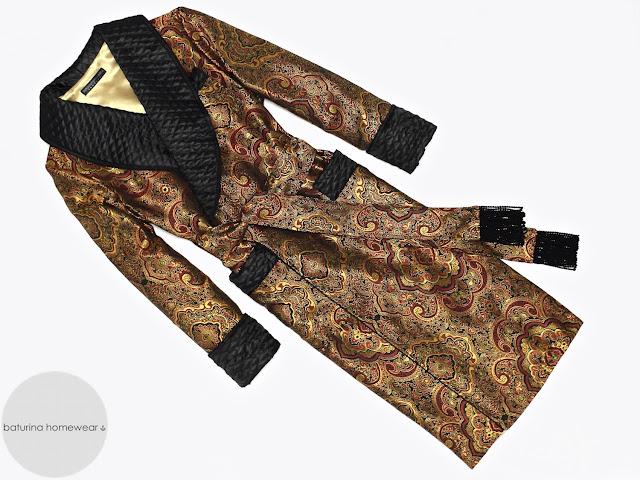 Men's paisley silk dressing gown gold black robe quilted smoking jacket victorian gentleman housecoat