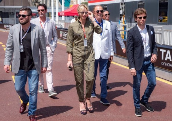 Princess Charlene wore Ralph Lauren Olive Cotton Twill Military Coverall. Prince Jacques and Princess Gabriella wore Ray-Ban sunglasses.