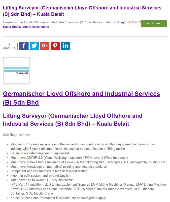 Oil &Gas Vacancies: Lifting Surveyor (Germanischer Lloyd