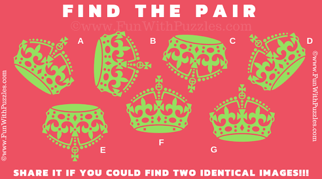This is Picture Brain Teaser to Test you brain in which one has to find the matching pair among given 7 puzzle images