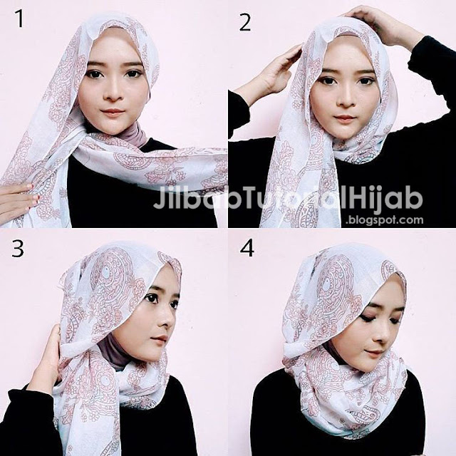 Lengkap dengan gambar beserta keterangan step by step Tutorial Cara Memakai Hijab Pashmina