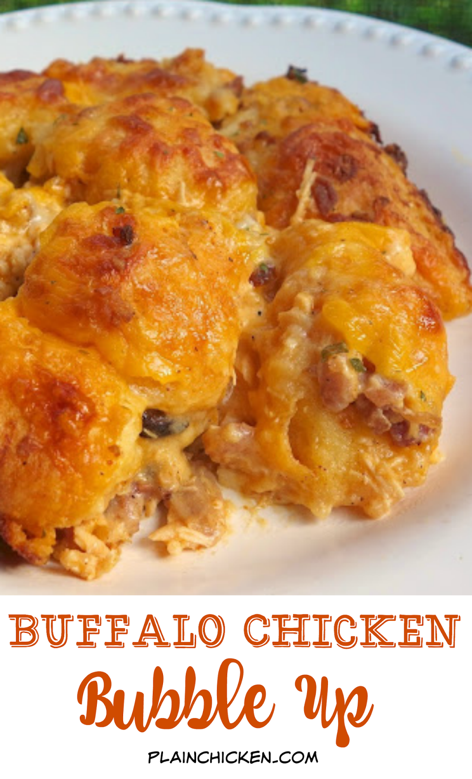 Buffalo Chicken Bubble Up - chicken, buffalo sauce, Ranch and cheddar tossed in biscuits. Crazy good! My husband could not stop raving about this casserole. He asked me to make it again the next night! Great for football parties too!