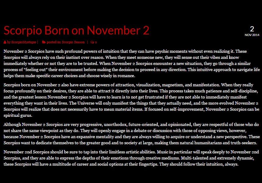 Scorpio Zodiac Personality Traits by Birthday | Scorpio Quotes