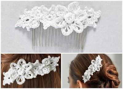 Peineta floral para el pelo de crochet patrón en pdf