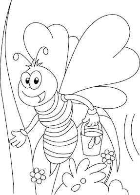 Gambar Mewarnai Lebah - 4