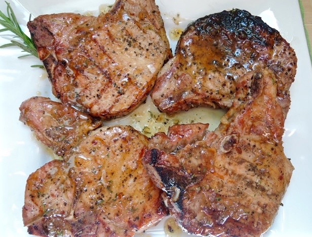 The Briny Lemon: Grilled Pork Chops with Maple-Bourbon Sauce