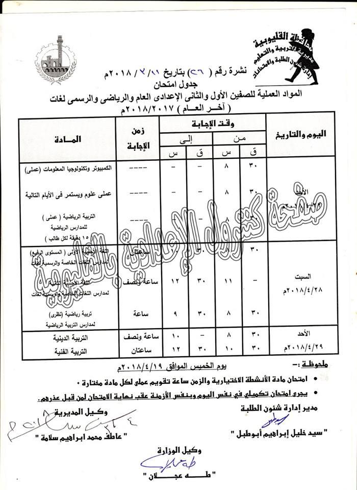 جدول امتحانات الترم الثاني آخر العام 2018 محافظة القليوبية