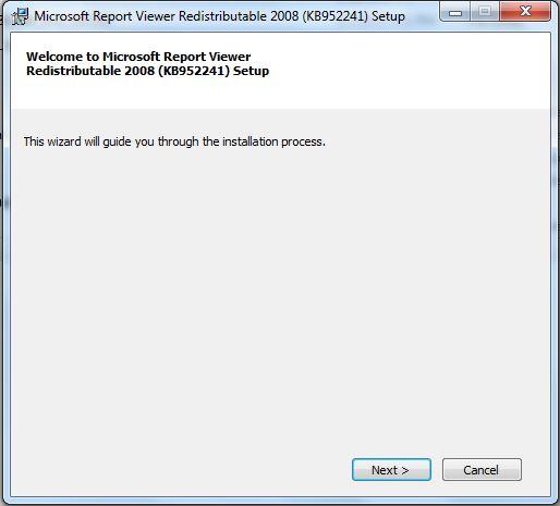 install Microsoft Report Viewer Redistributable 2008