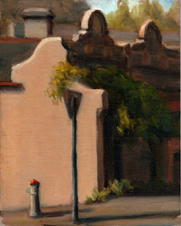 Oil painting of a Victorian-era terrace house with a creeper growing over the front; the foreground shows a street sign and a fire hydrant.