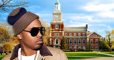 Nas standing in front of an HBCU