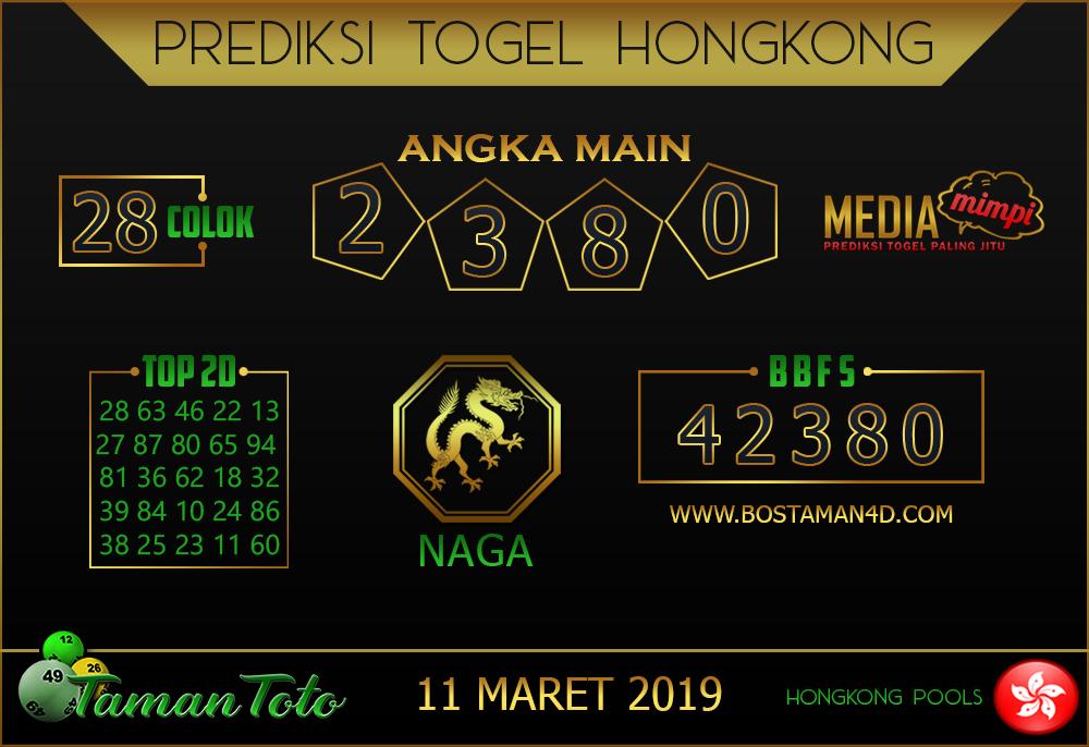 Prediksi Togel HONGKONG TAMAN TOTO 11 MARET 2019