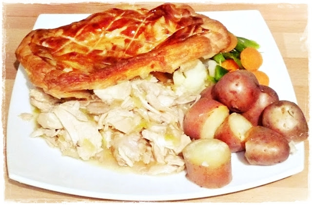 chicken and leek pie with new potatoes