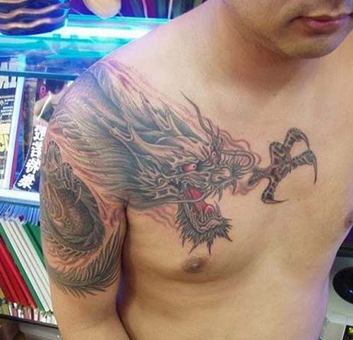 dragon tattoos man chest and shoulder ejderha dövmeleri