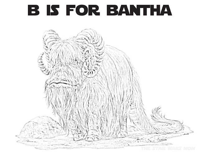 Star Wars Alphabet Coloring Page B is for Bantha
