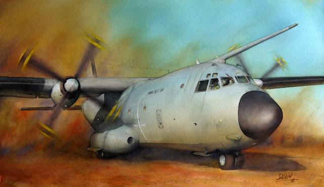 Aquarelle, C-160, Transall, Afrique, ET 02-064, Anjou