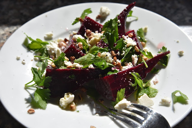 beet salad with ricotta salata, parsley and toasted pecans