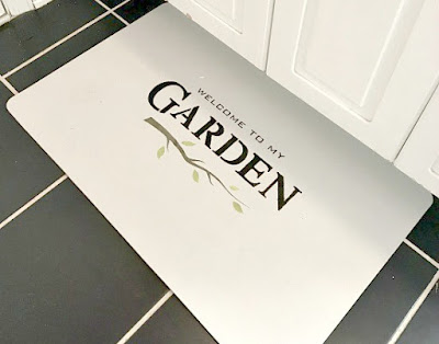 DIY stenciled bathroom garden mat