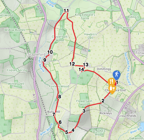 Map for Walk 57: Chapmore End Loop