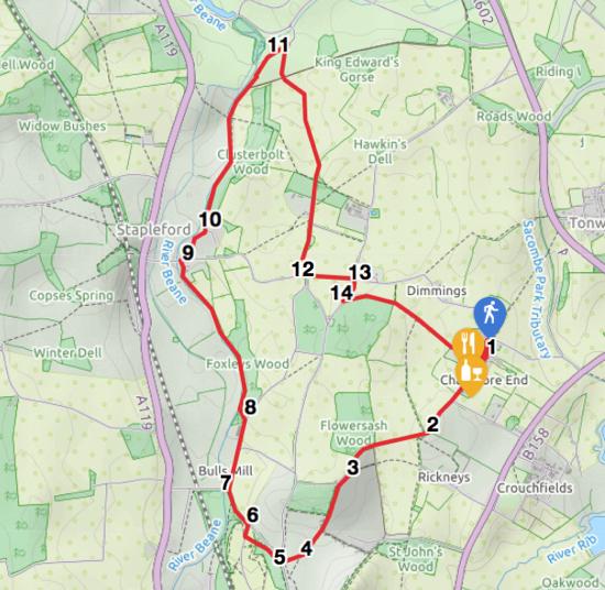 Map for Walk 57: Chapmore End Loop