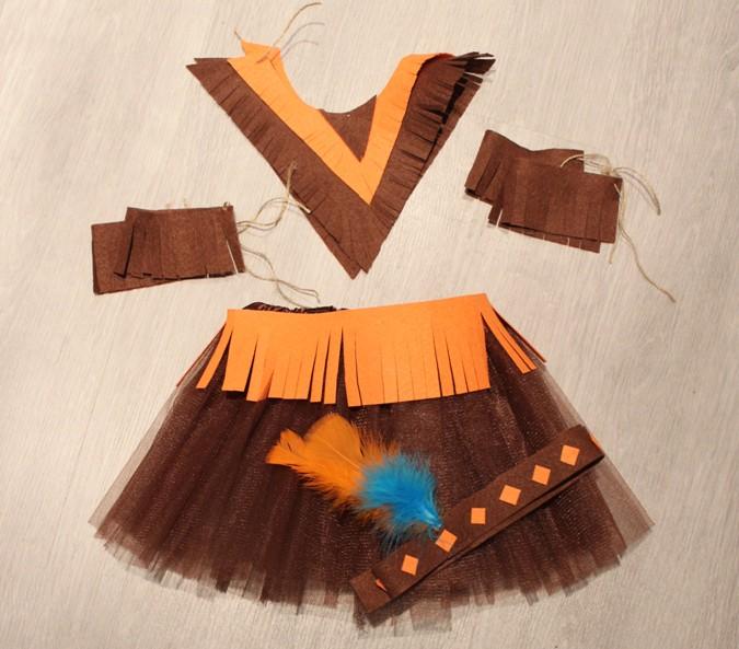 Disfraz de india fácil y rápido para niñas