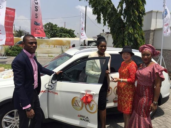 Stephanie Linus wins car at AMVCA FOR Movie of the year DRY