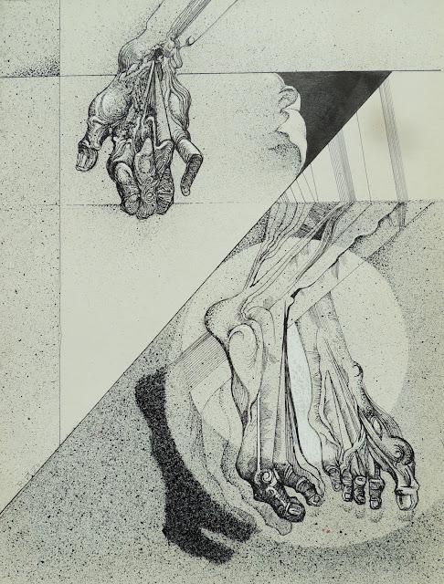 Joan Rifà litografía surrealista manos pies