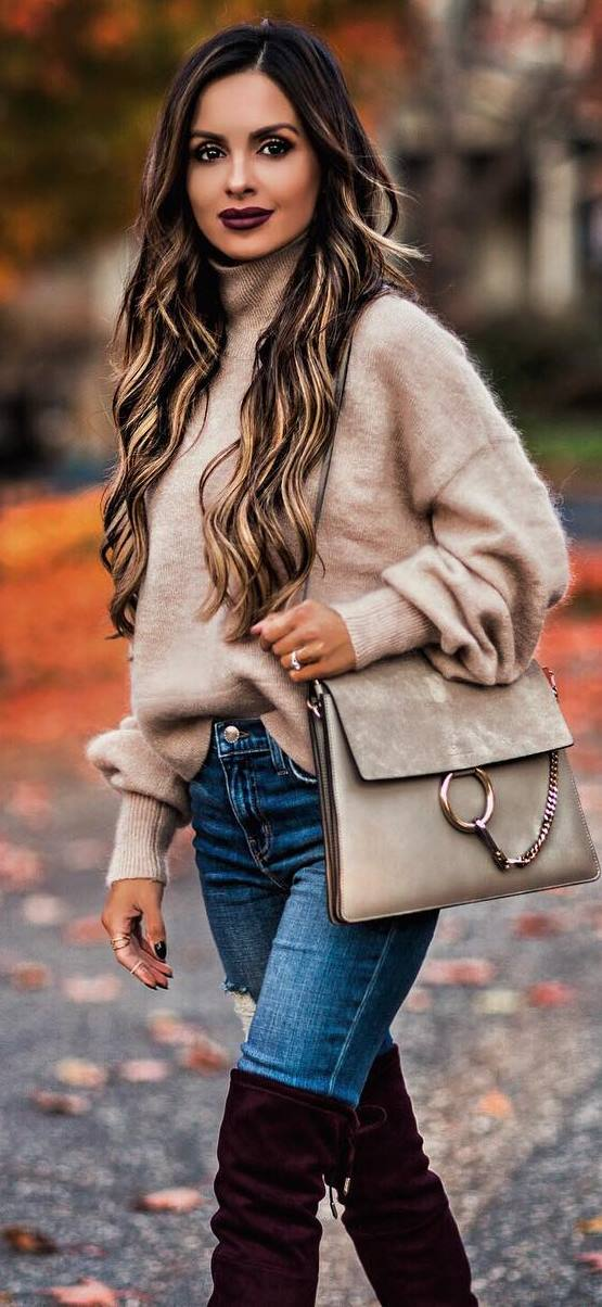 cozy outfit / nude cashmere sweater + bag + jeans + over knee boots