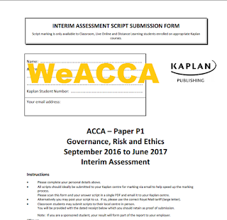 ACCA P1 September 2016 to June 2017 Interim Assessment Questions + Answer Free, ACCA P1 Kaplan Mock 2017 Free