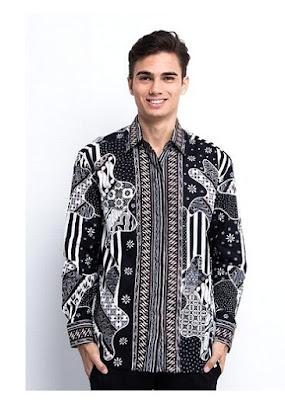 Batik Kerja Pria Modern Lengan Panjang