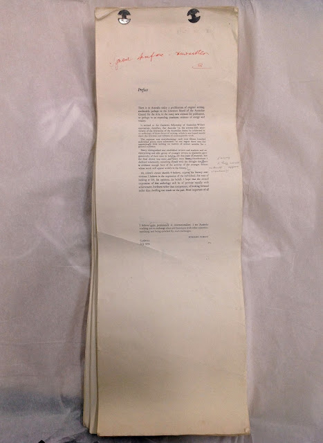 Marked up manuscript proof of FAW ACT Publication Australian '75