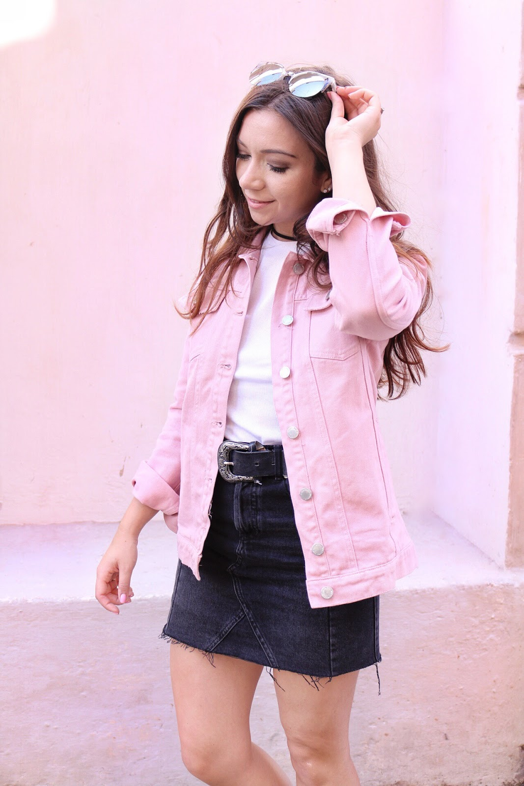 Three Ways To Style A Denim Skirt, denim skirt outfit, outfit, denim skirt, miss selfridge, things to wear with a denim skirt, pink denim jacket, band tee, fashion, style, outfit, style guide, dizzybrunette3 fashion