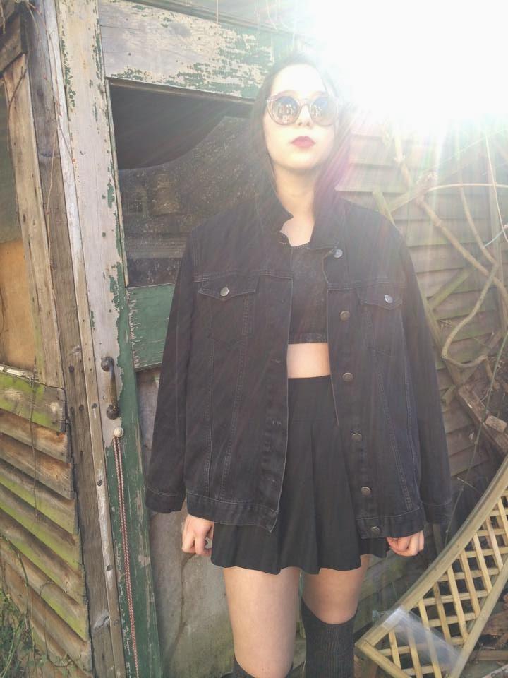 sun, denim, fashion, black, thigh highs