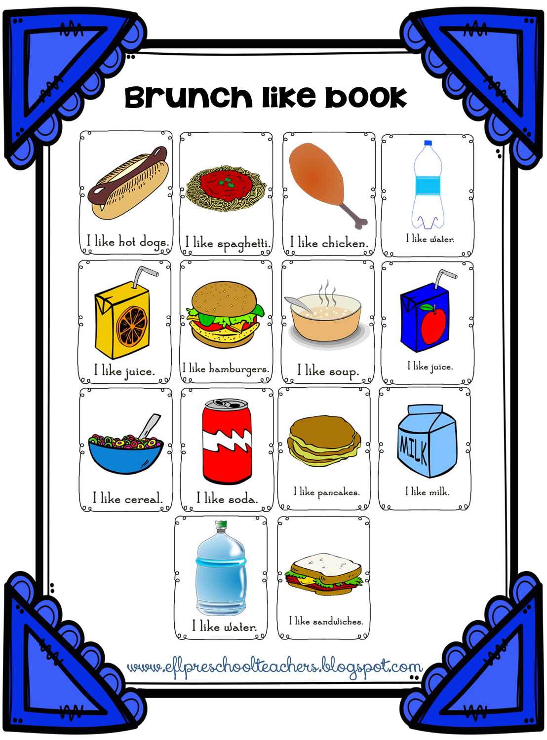 Esl Efl Preschool Teachers Brunch Breakfast And Lunch Theme