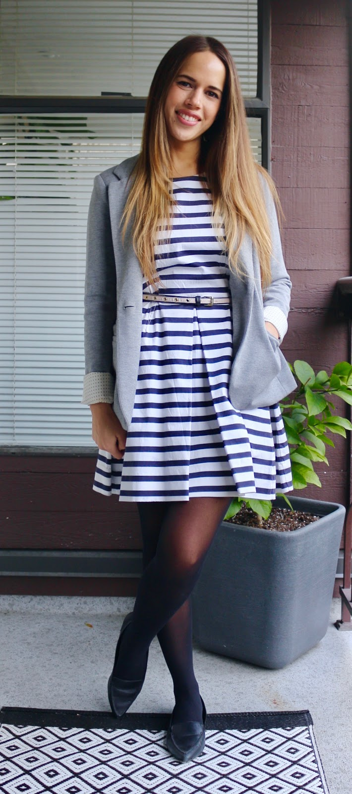 Jules in Flats - Striped Dress with Blazer