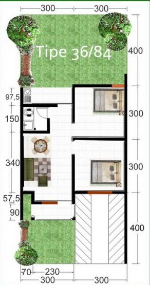 Denah Rumah Minimalis Modern Type 36 1 Lantai