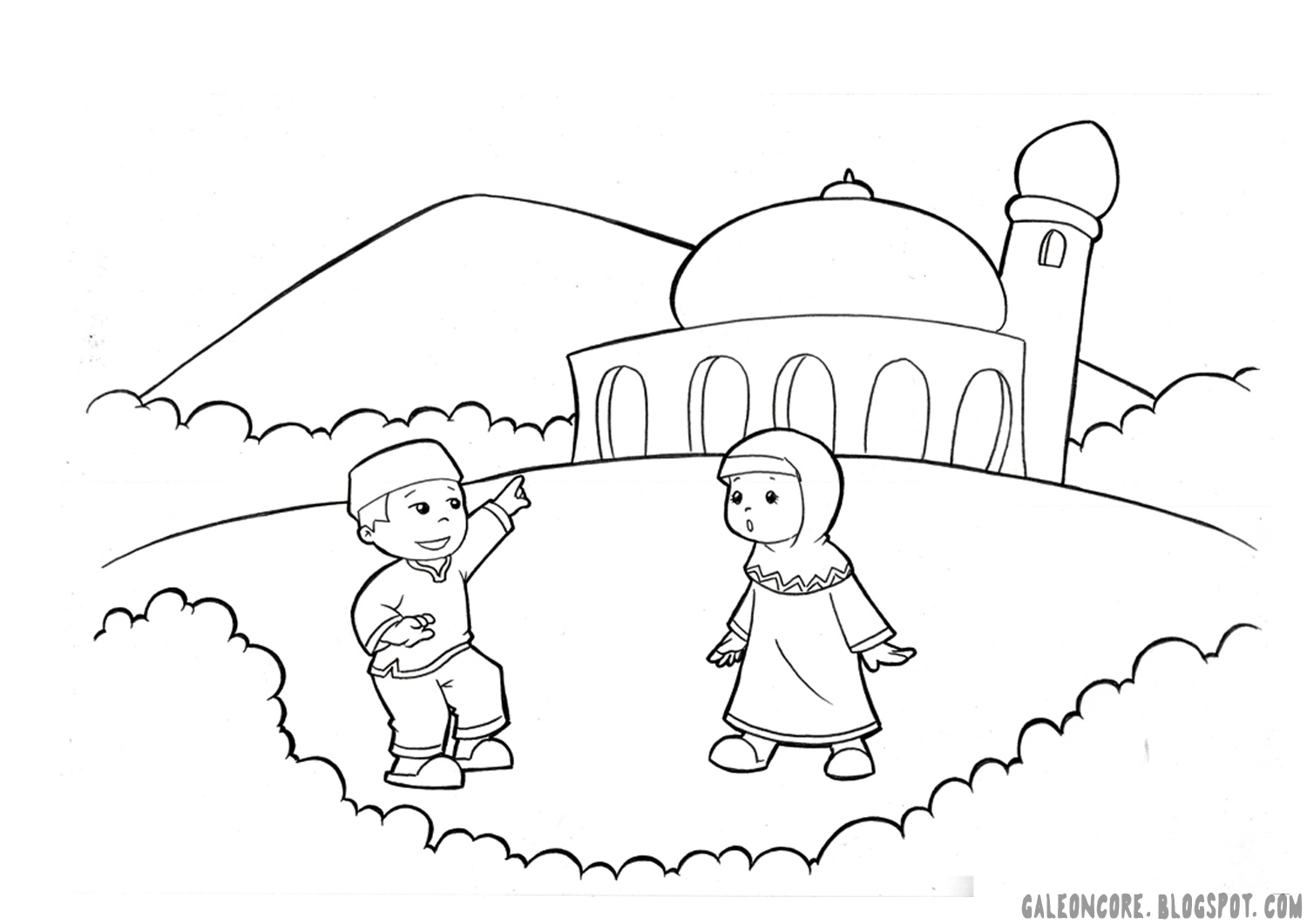 Sketch Masjid Nabawi Coloring Pages