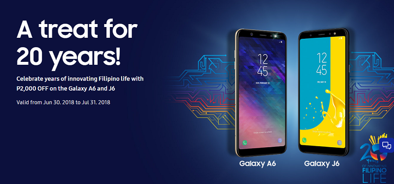 Sale Alert: Enjoy PHP 2,000 off the price of Samsung Galaxy J6 and A6!