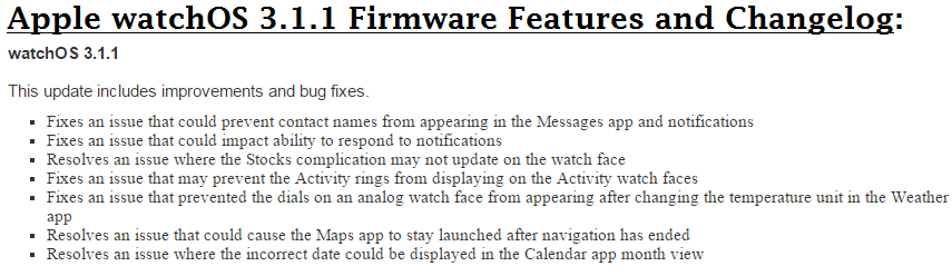 Apple watchOS 3.1.1 Firmware Features and Changelog