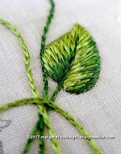 Completed leaf stitched with antique silk embroidery floss. (Society Silk Violets)